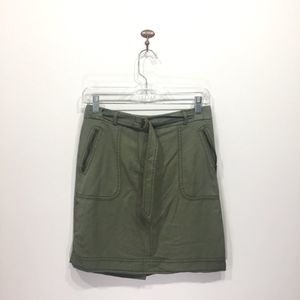LOFT NWT green military belted pencil skirt 0P